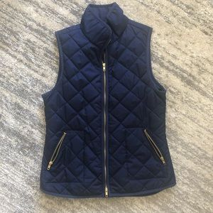 Navy Blue Puffer Vest with Gold Accents